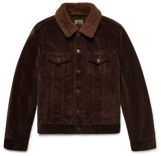 Saint Laurent Shearling-Lined Cotton-Corduroy Trucker Jacket