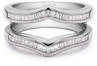 TwoBirch Cubic Zirconia Mounted In Sterling Silver Classic Contour Style Ring Guard Enhancer (0.43ctw)