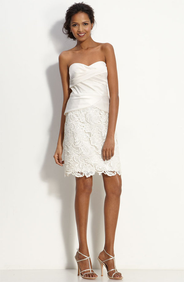 Adrianna Papell Mock Two Piece Satin & Lace Dress