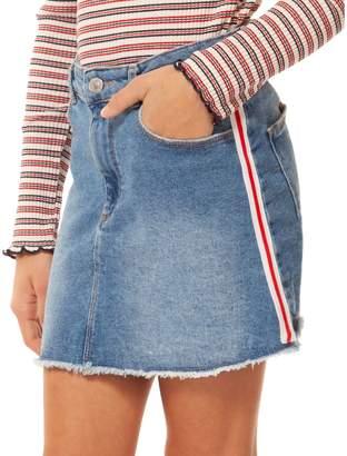 Dex Girl's Striped Side Denim Skirt