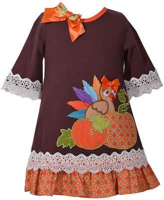 Bonnie Jean Long Sleeve Turkey Applique Dress - Baby Girls