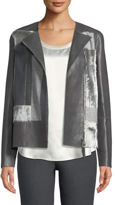 Lafayette 148 New York Toluca Lambskin Jacket with Calf Hair Patchwork