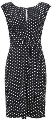 Wallis Black Polka Dot Tie Front Shift Dress