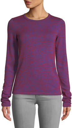 Rag & Bone Crewneck Long-Sleeve Slim Patterned Jersey Tee