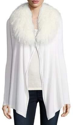 Neiman Marcus Luxury Chain-Trimmed Cashmere Cardigan w/ Tibetan Collar