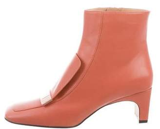 Sergio Rossi Leather Square-Toe Ankle Boots w/ Tags