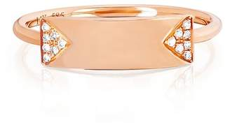 Ef Collection 14K Rose Gold Nameplate Stack Ring - Size 7 - 0.04 ctw