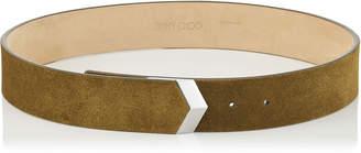 Jimmy Choo BRITT/L Olive Suede Waist Belt