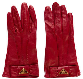 prada Prada Leather Bow Gloves