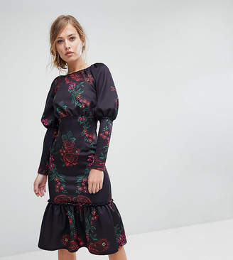 True Violet Pep Hem Midi Dress With Long Sleeves