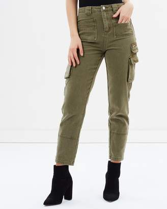 Missguided Denim Utility Cargo Trousers