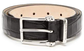 Alexander McQueen Crocodile Effect Leather Belt - Mens - Black