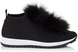 9cde2c4d5c78 Jimmy Choo NORWAY Black Knit and Lurex Trainers with Fur Pom Poms