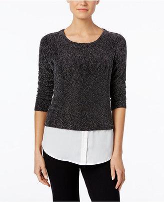 Calvin Klein Textured Layered-Look Sweater $69.50 thestylecure.com