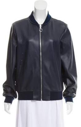 Halston Perforated Bomber Jacket