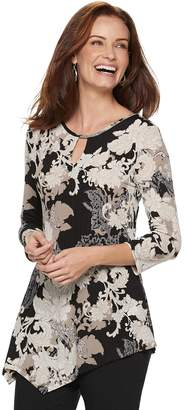 Dana Buchman Women's Keyhole Asymmetrical Top