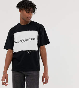 Heart N Dagger t-shirt with chest print in black