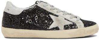 Golden Goose SSENSE Exclusive Black Glitter Superstar Sneakers $450 thestylecure.com