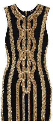 Balmain - Embellished Stretch-jersey Mini Dress - Black $4,565 thestylecure.com