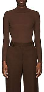 The Row Women's Steve Rib-Knit Wool Mock Turtleneck Sweater - Brown