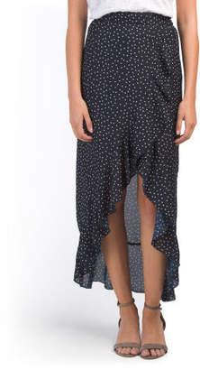 Juniors Dot Print Wrap Style Skirt