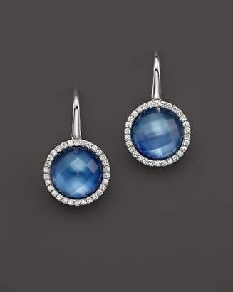 Roberto Coin 18K White Gold Fantasia Blue Topaz, Lapis and Mother-of-Pearl Triplet Cocktail Earrings with Diamonds