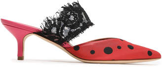Malone Souliers X Emanuel Ungaro Maise Lace-trimmed Polka-dot Satin Mules