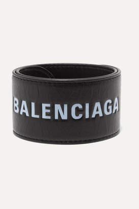 Balenciaga Cycle Printed Textured-leather Bracelet