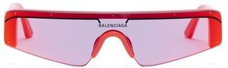Balenciaga Ski Reflective Lens Shield Acetate Sunglasses - Mens - Red