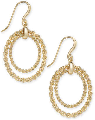 Charter Club Gold-Tone Rope Chain Double Hoop Drop Earrings, Created for Macy's