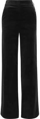 Frame Cotton-blend Velvet Wide-leg Pants - Black