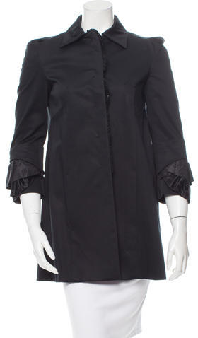 Miu Miu Miu Miu Ruffle-Trimmed Button-Up Coat
