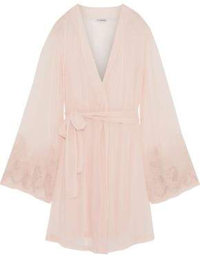 I.D. Sarrieri Corded Lace-Trimmed Crepe De Chine Robe