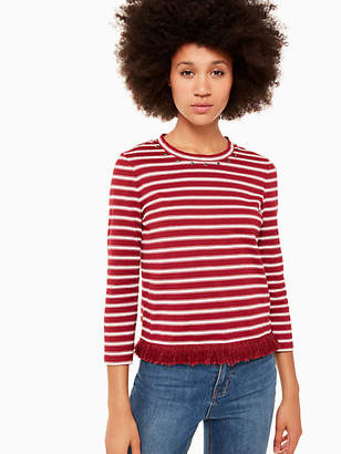 Kate Spade Stripe Fringe Knit Top, Deep Russet/French Cream - Size XXS