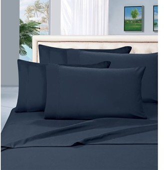 "Elegant Comfort Wrinkle Resistant - 1500 Thread Count 6 pc Sheet set, Deep Pocket Up to 16"" - All Size and Colors , California King, Navy"