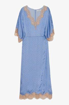 Genuine People Silk V Neck Lace Midi Dress