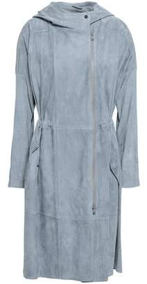Brunello Cucinelli Knit-paneled Suede Hooded Coat