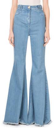 Balmain High-Waist Flare-Leg Fray Hem Jeans