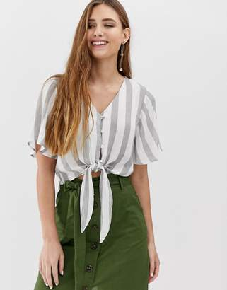 Brave Soul dani stripe top with covered buttons