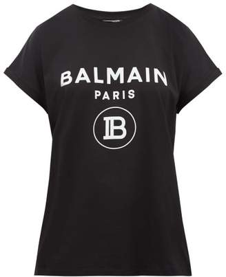Balmain Flocked Logo Cotton T Shirt - Womens - Black White