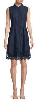 T Tahari Melitta Embroidered Fit-&-Flare Dress