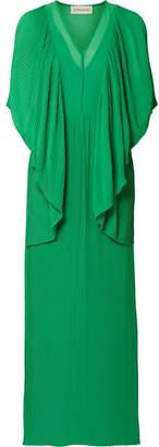 By Malene Birger Middanna Draped Plissé-chiffon Maxi Dress