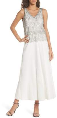Pisarro Nights Beaded Mock Two-Piece A-Line Gown