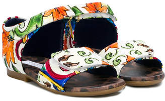 Dolce & Gabbana watercolour printed sandals