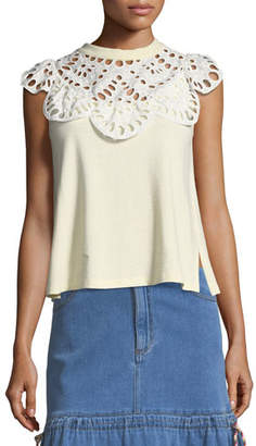 See by Chloe Eyelet-Neck Sleeveless Cotton Tee