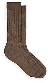 Barneys New York Men's Ribbed Wool-Cashmere Mid-Calf Socks-Brown