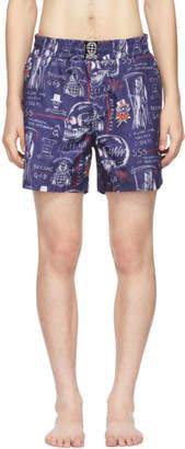 SSS World Corp Navy Wes Sketch Milkshake Swim Shorts