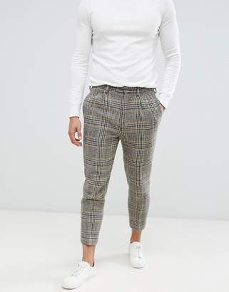 Asos DESIGN drop crotch tapered smart PANTS in 100% wool Harris Tweed