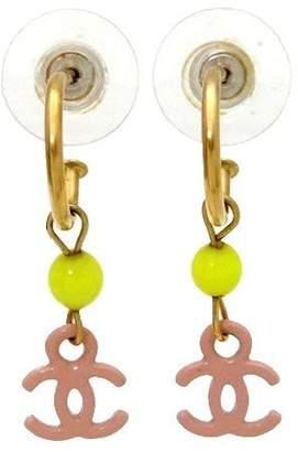 Chanel CC Logo Gold Tone Metal Pink Dangle Stud Earrings