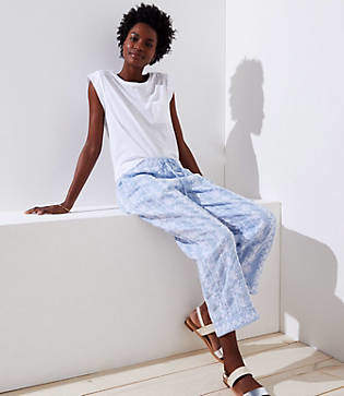 LOFT Petite Floral Embroidered Linen Drawstring Pants